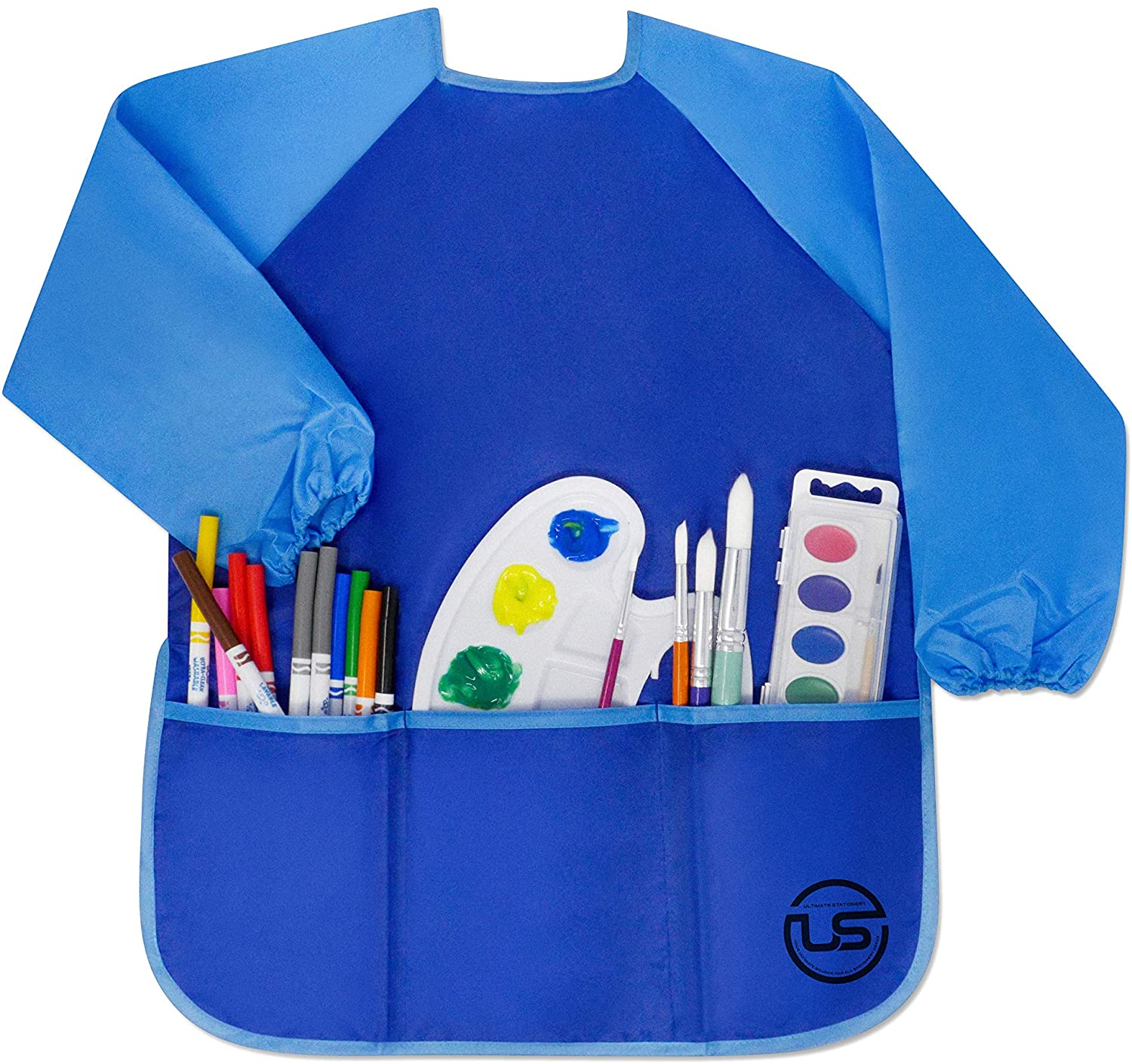 Waterproof Children Art Smock, Ultimate Stationery, Kids Long Sleeve Blue Apron with 3 Big Pockets Great for Painting, Gluing and Messy Crafts