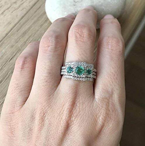 Emerald Engagement Ring Set- Art Deco Wedding Set- Three Piece Bridal Set- Three Stone Emerald Ring- Unique Bridal Set Rings- Vintage Inspired Ring