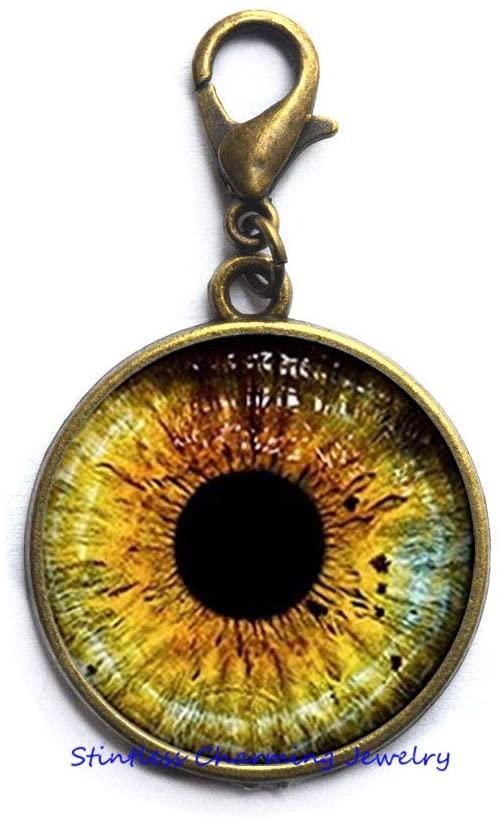 Yellow Wolf Eye Zipper Pull-Wolf Jewelry-Wolf Lobster Clasp-Animal Picture Jewelry Gifts for Women-Wedding Jewelry Glass jewelry-JV354
