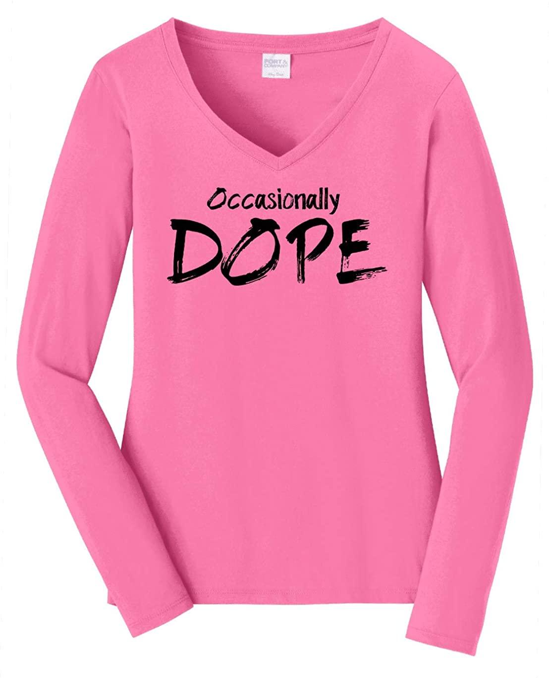 HARD EDGE DESIGN Women's Occasionally Dope Long Sleeve V Neck T-Shirt, 3X-Large, New Pink