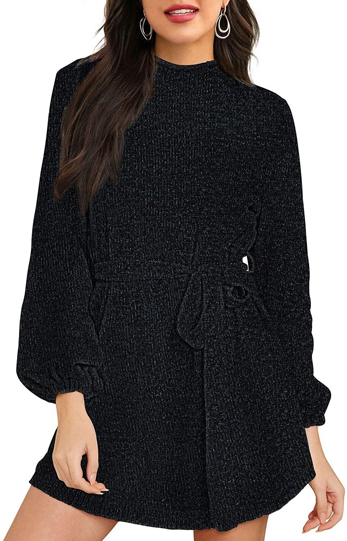 HAPCOPE Womens Mock Neck Lantern Long Sleeve Chenille Sweater Dress with Belt