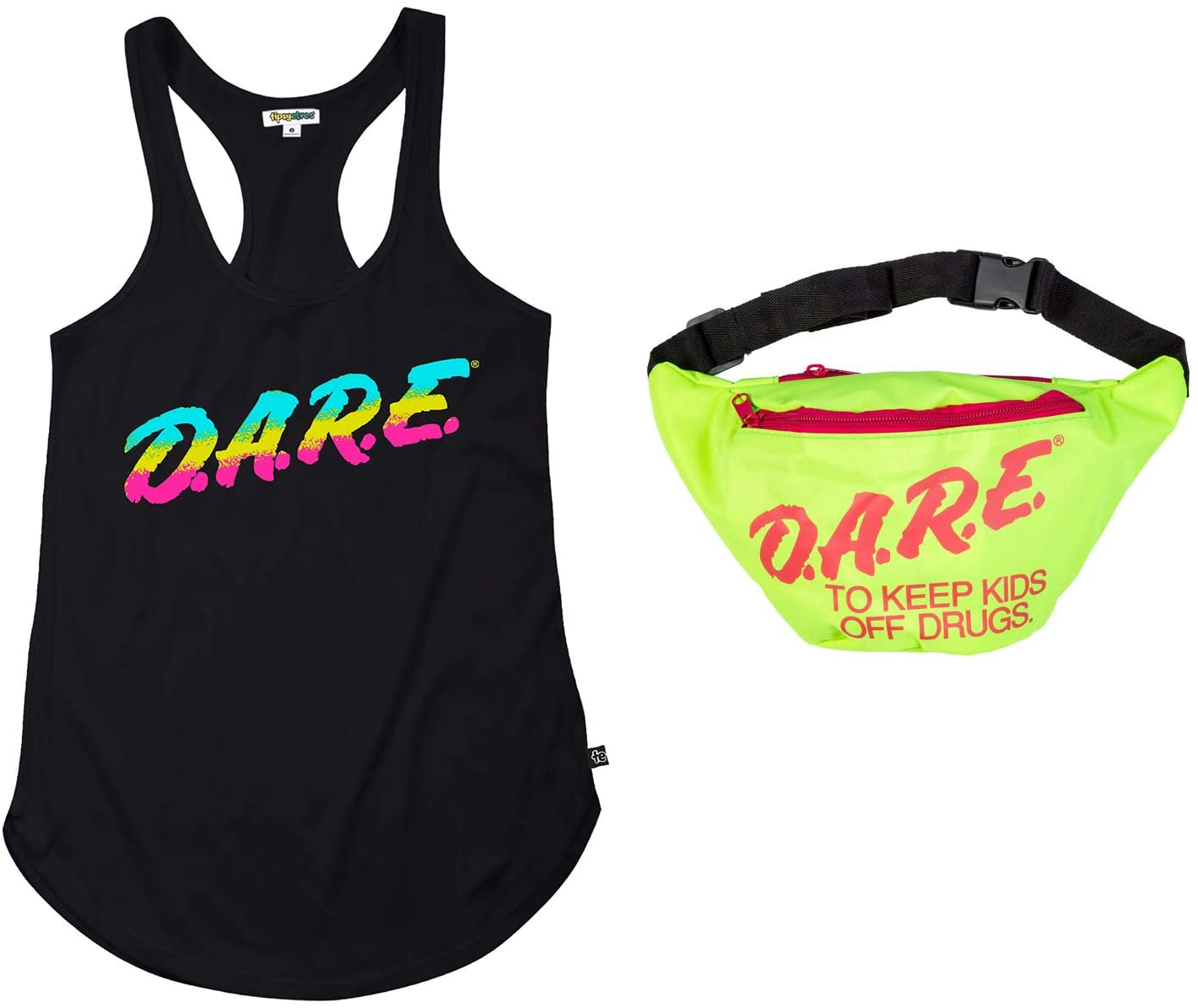 Tipsy Elves EASY Halloween Costume - DARE Fanny Pack and Black DARE Tank Top Size Small