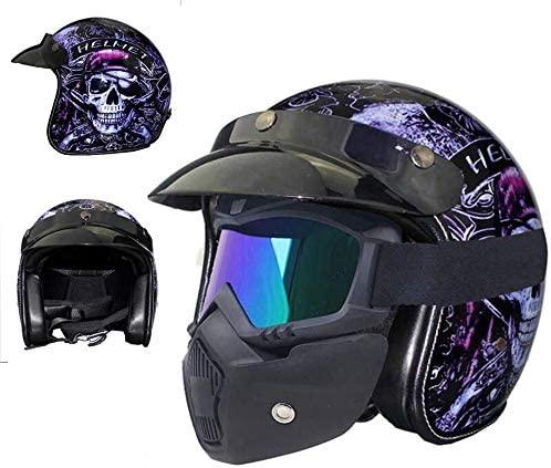 DEWUFAFA Motorcycle Helmet Motorcycle Helmet Vintage Leather Skull Open Face 3/4 Cruiser Half Helmet/Goggles/Men's Women's Couples Universal Four Seasons Helmet Helmet (Color : 1, Size : X-Large)