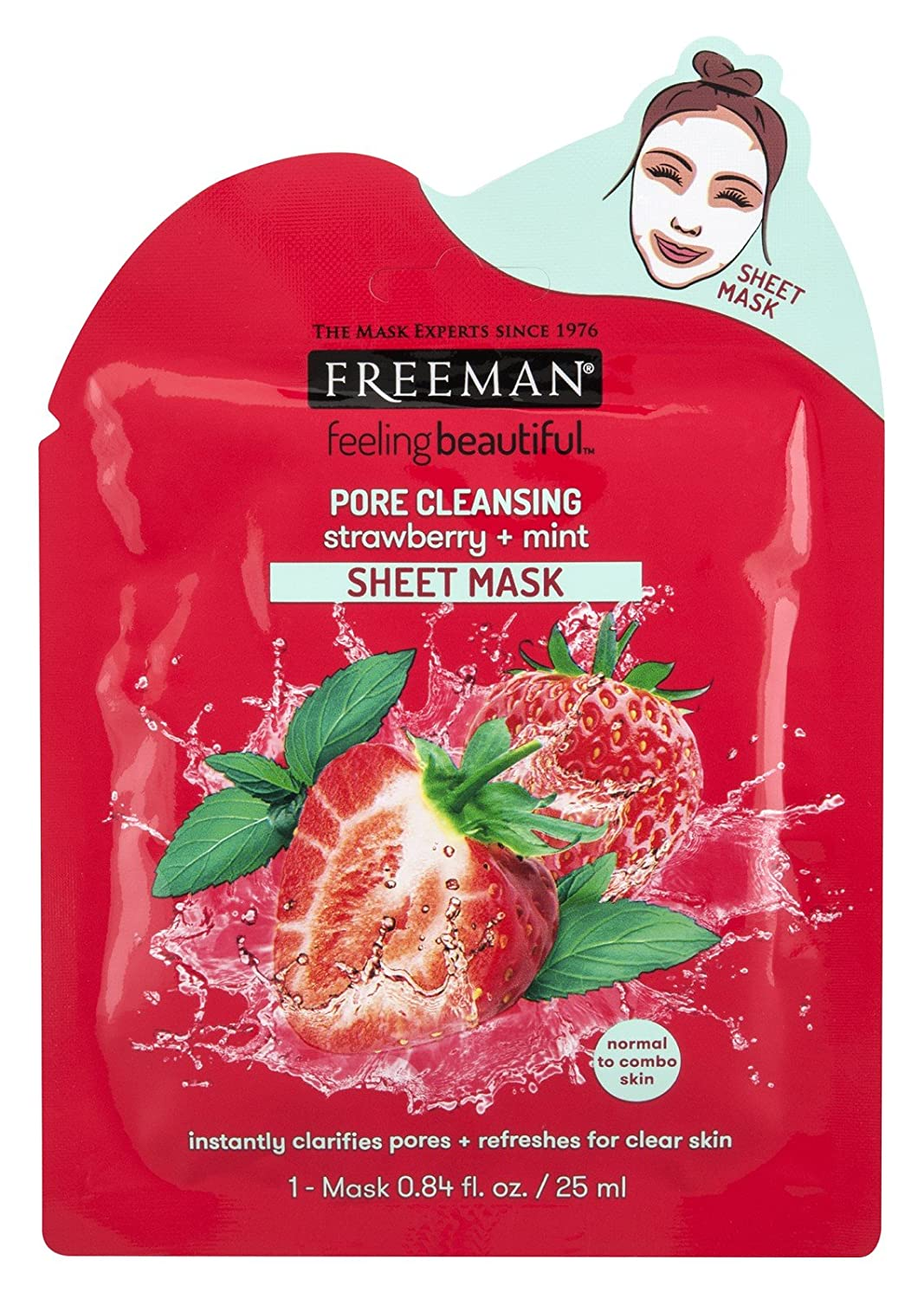 Freeman Facial Strawberry+Mint Pore Cleansing Sheet Mask (6 Pieces)