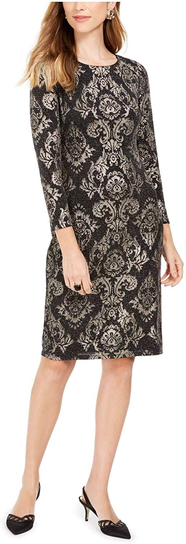 Jessica Howard Womens Black Sequined Ikat 3/4 Sleeve Jewel Neck Knee Length Sheath Formal Dress Size 14P