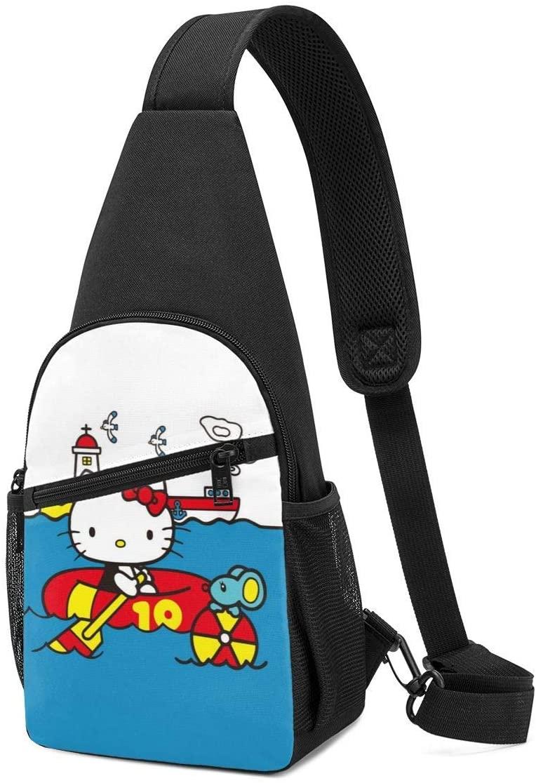 Pooizsdzzz Sling Bag - Hello Kitty Pool Time Crossbody Sling Backpack Travel Hiking Chest Bag Daypack for Women Men