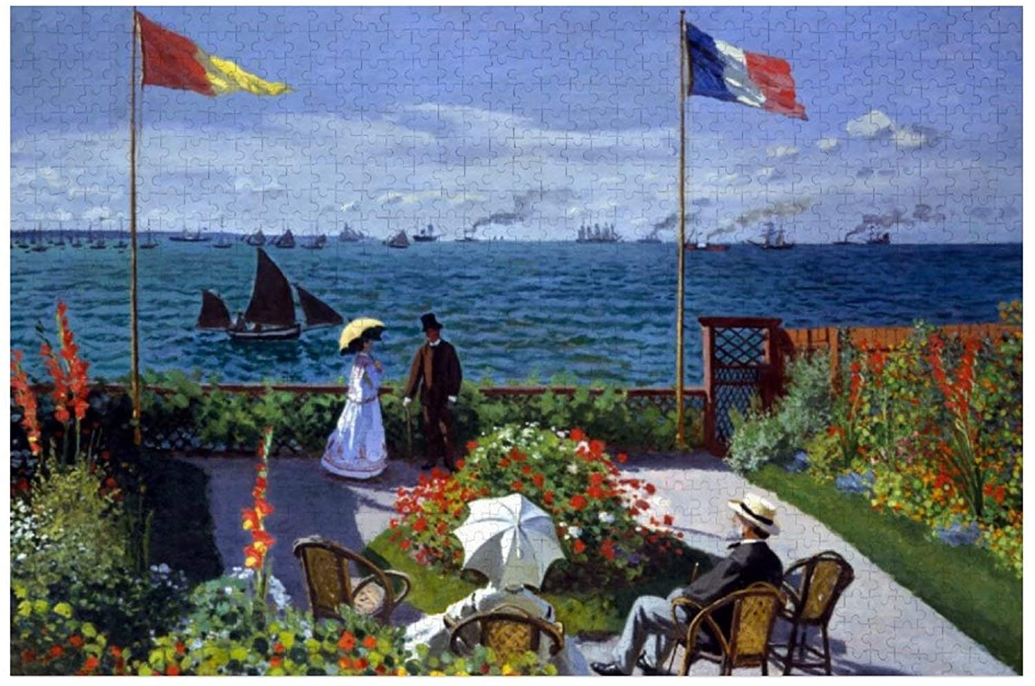 Claude Monet Garden at Sainte Adresse Puzzles for Adults, 1000 Piece Kids Jigsaw Puzzles Game Toys Gift for Children Boys and Girls, 20