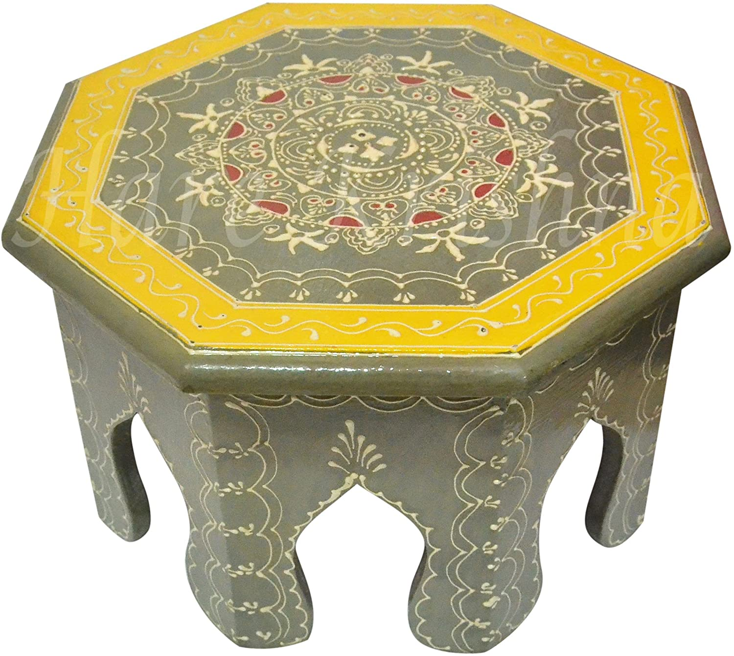 Festive Special Wooden Footstool for Home Decor Low Side Table (Gray) 10 x 10 x 6 Inches