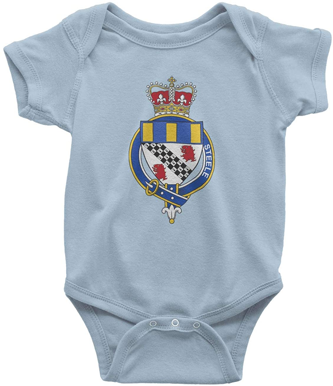 HARD EDGE DESIGN Infant's English Garter Family Steele Bodysuit, 12 Months, Light Blue