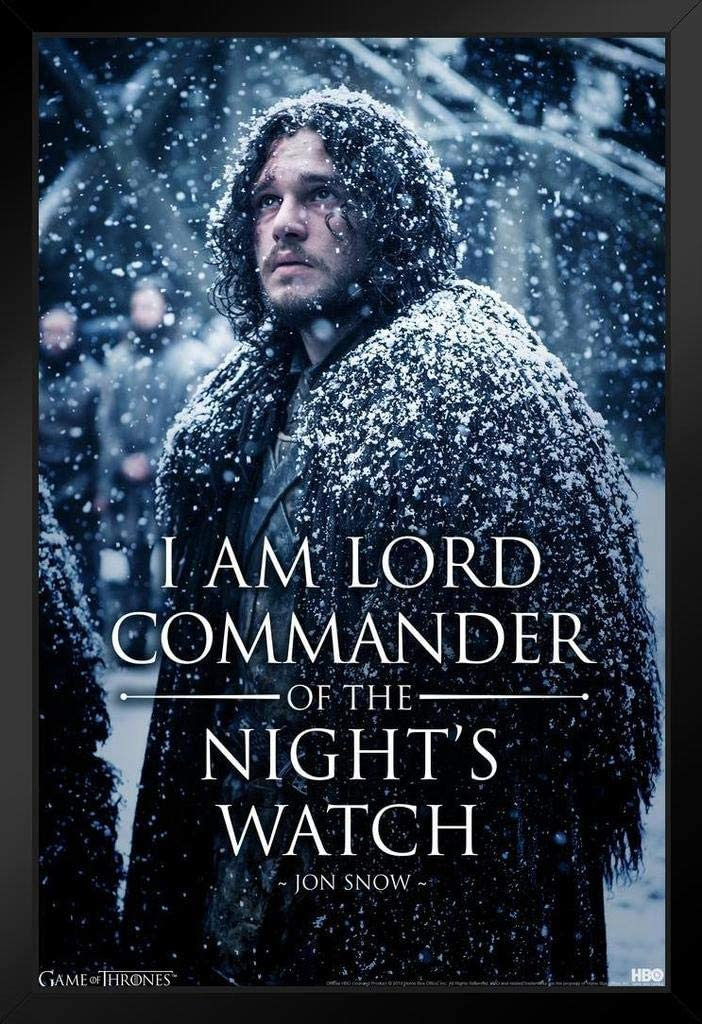 Pyramid America Game of Thrones Jon Snow Lord Commander Nights Watch Black Wood Framed Art Poster 14x20