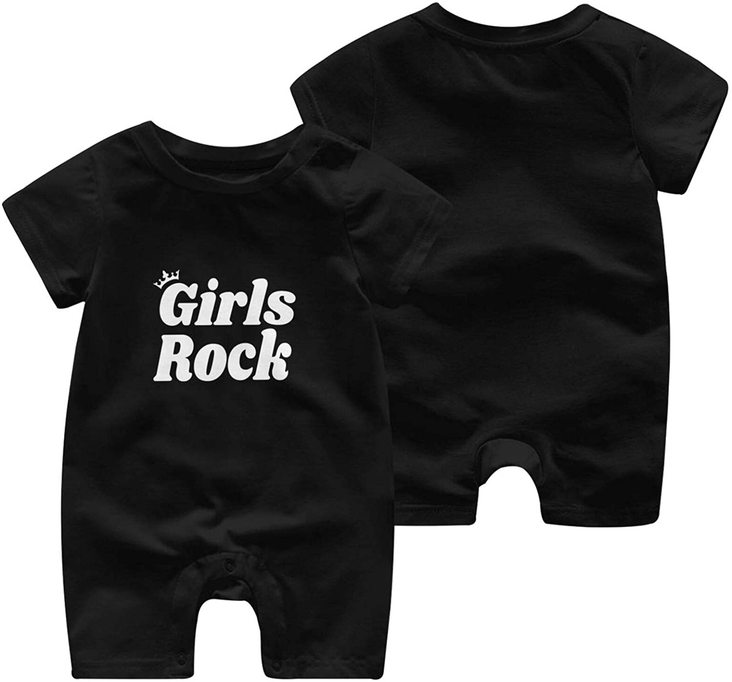 Girls Rock Baby Short Sleeve Jumpsuit Comfortable and Fashionable Cotton