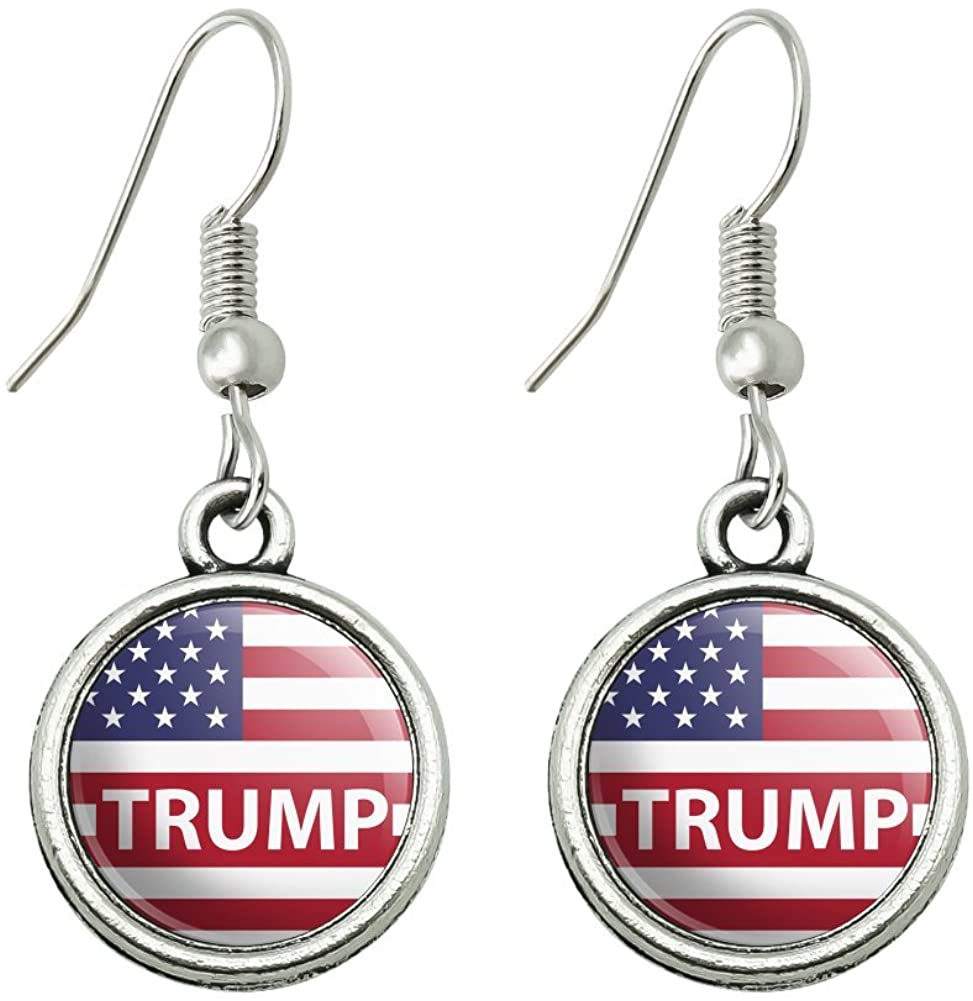 GRAPHICS & MORE President Trump American Flag Novelty Dangling Drop Charm Earrings