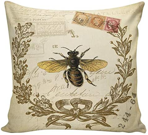 EricauBird Throw Pillow Cover-Throw Pillow Cover, Vintage French Spring Honey Bees Antique Document BurlapHome Decor,18x18