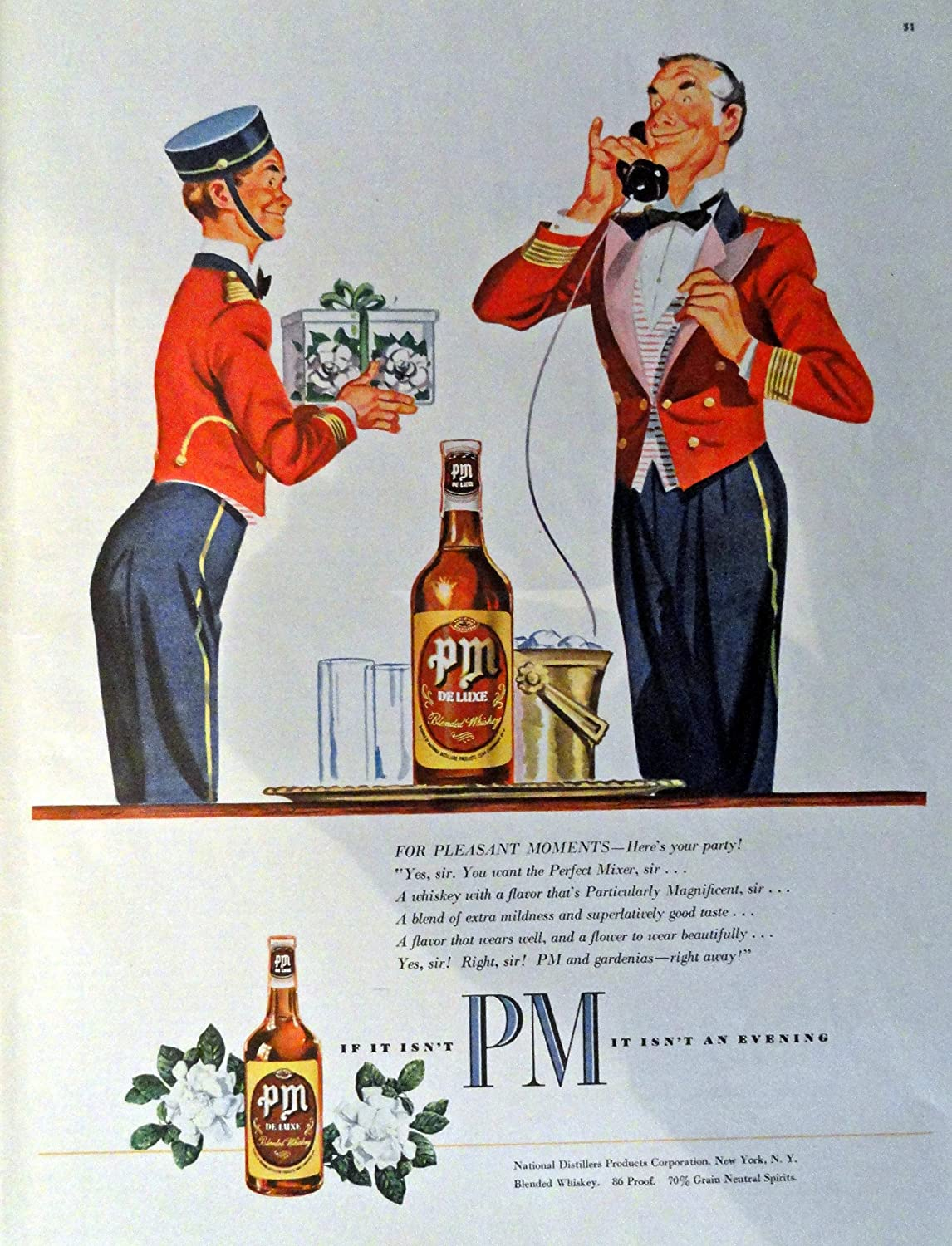PM Whiskey, 40's Print Ad. Full Page Color Illustration 10 1/2