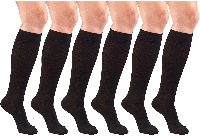 Compression Socks, 15-20 mmHg, Women's Dress Socks, Knee High Over Calf Length Black Small (6 Pairs)