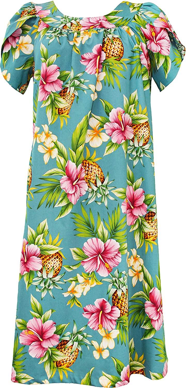 RJC Women's Pineapple Paradise Tea Length Hawaiian Muumuu House Dress