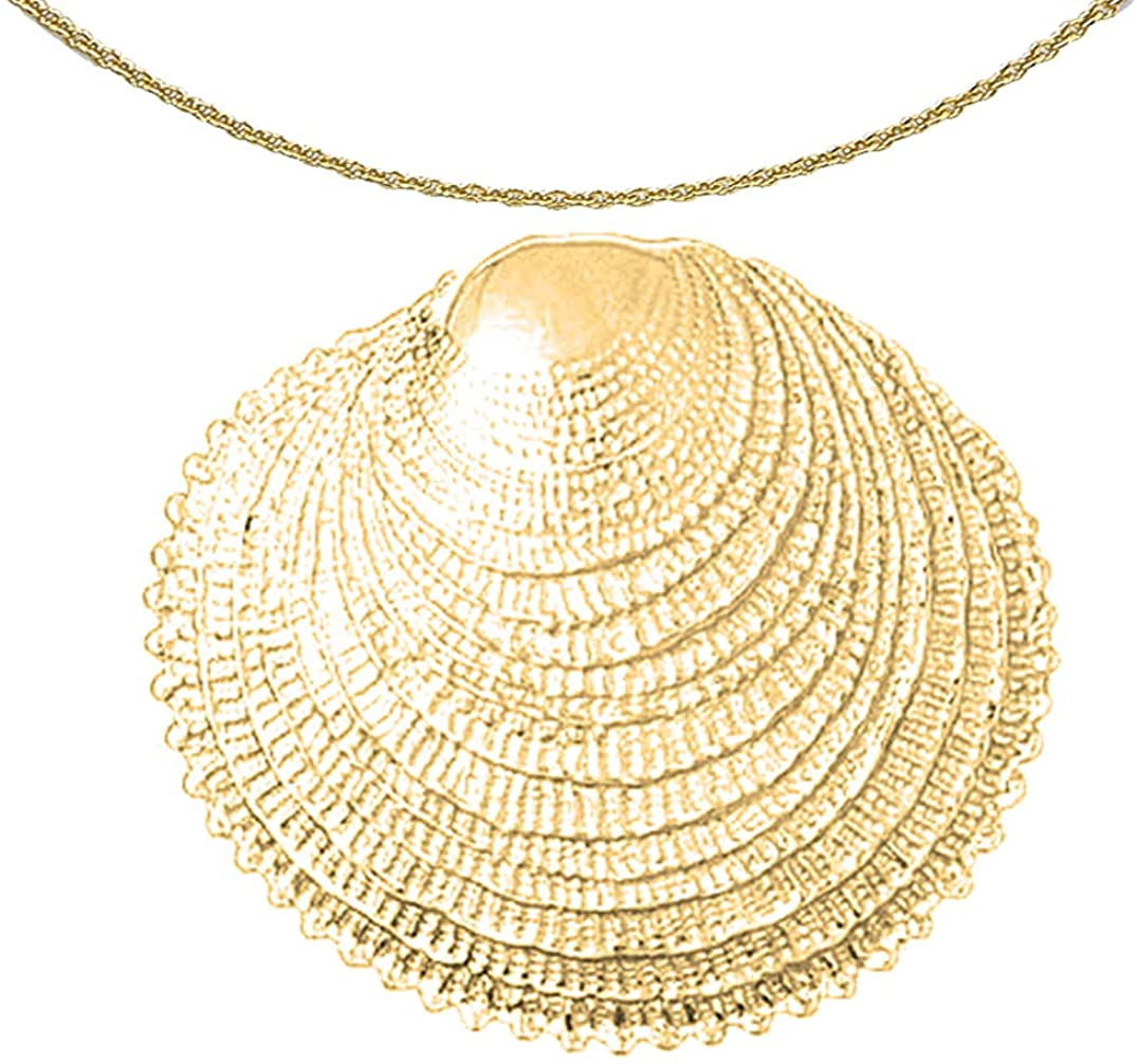 Jewels Obsession 14K Yellow Gold Shell Pendant with 18