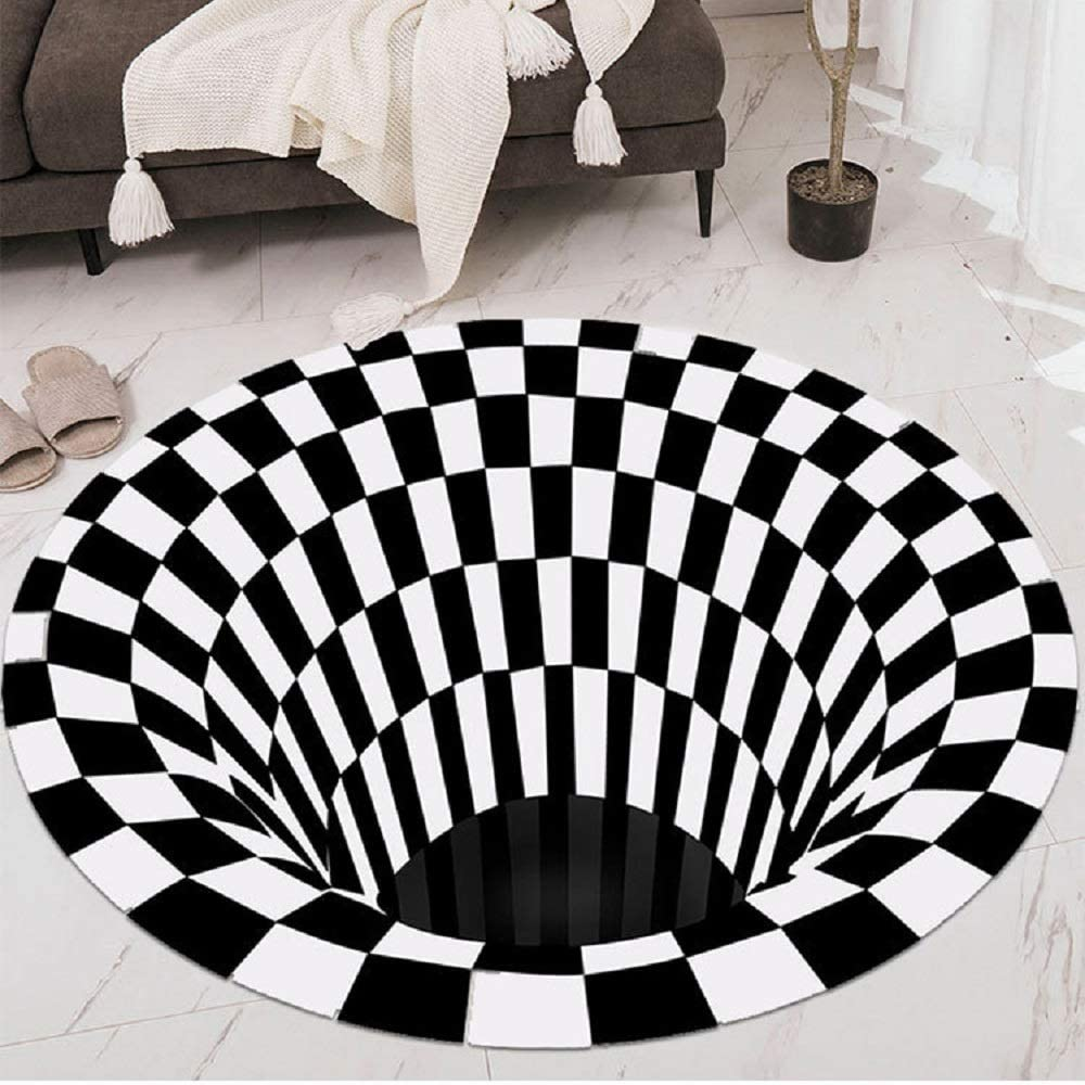 Round Carpet, Checkered Vortex Optical Illusions Non Slip Area Rug, Durbale Anti-Slip Floor Mat Non-Woven Black White Doormat, for Living Dinning Room Bedroom Kitchen