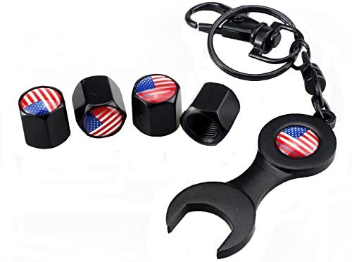 zslssports American Flag Tire Valve Stem Caps Keychain Set Accessories Universal for Most Cars