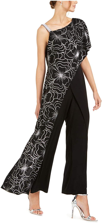 28th & Park Womens Black Zippered Printed Short Sleeve Asymmetrical Neckline Evening Jumpsuit Size 8