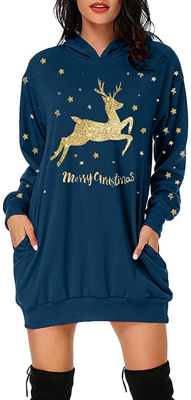Fandream Women Dress Longsleeve Christmas Print Hooded Mini Dress with Pocket