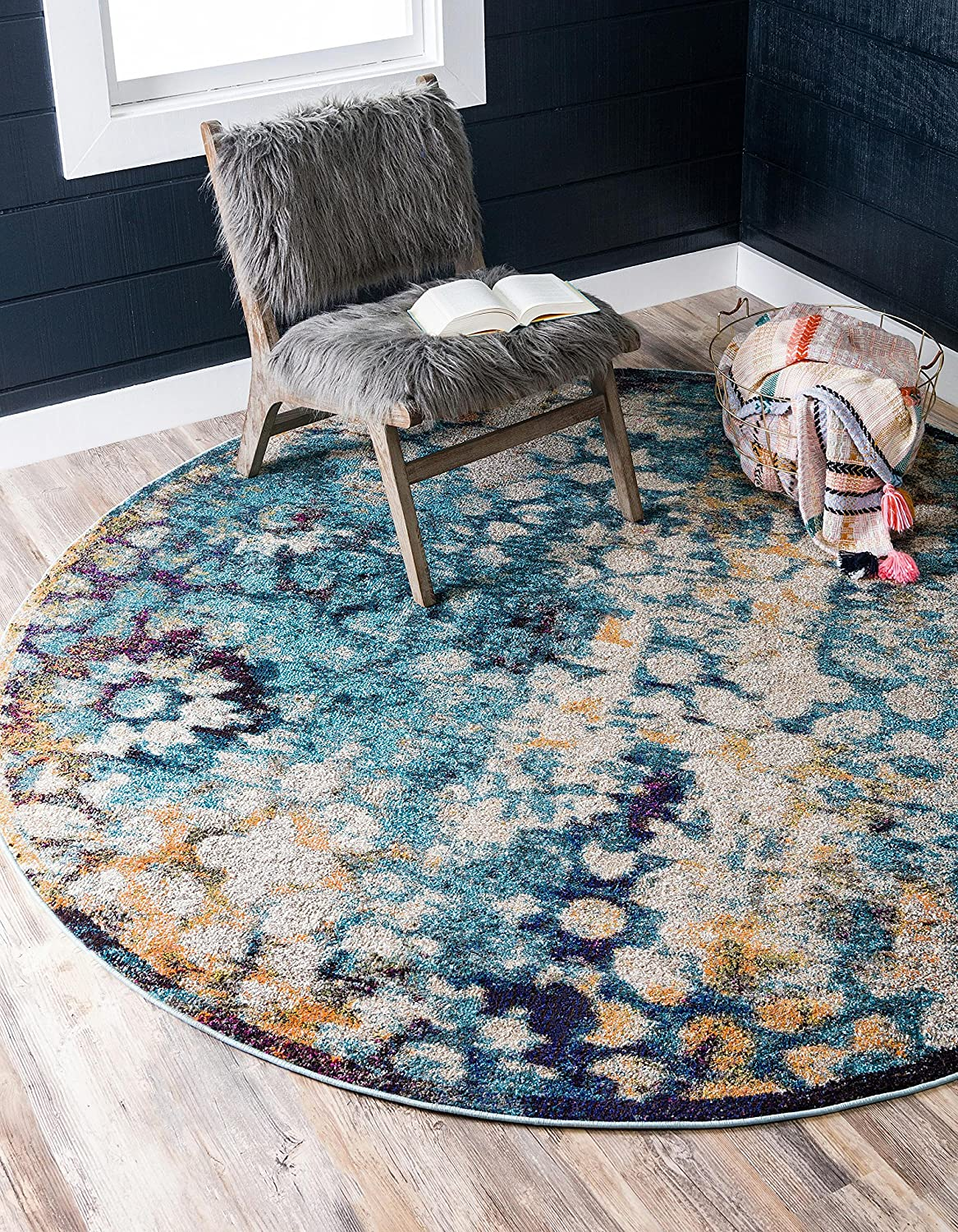 Unique Loom Vita Collection Traditional Over-Dyed Vintage Blue Round Rug (8' 0 x 8' 0)