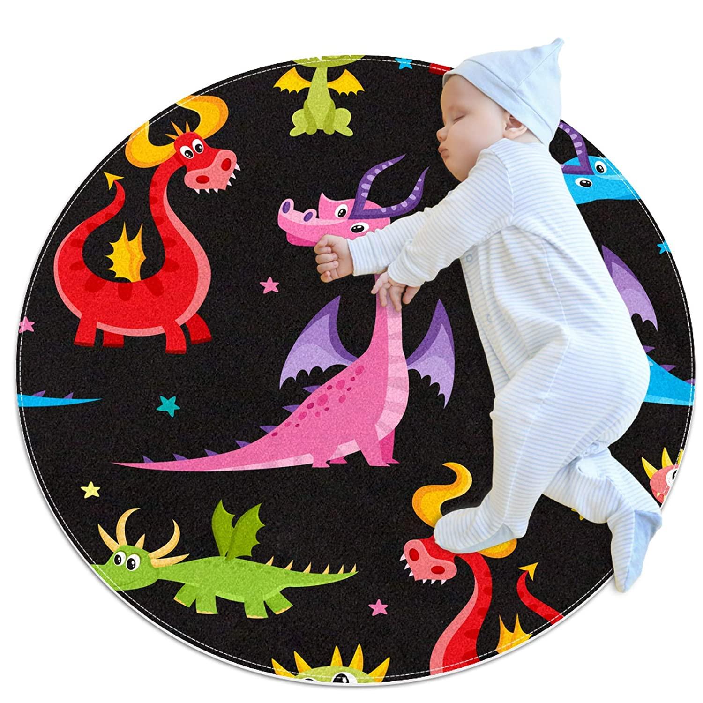 Dinosaur Cartoon Cute Round mat Round Area Rug Art Decor Anti-Slip Machine Washable Children Play pad Living Room Bedroom Oriental Study playroom Super-Soft Carpet 27.6x27.6IN