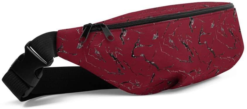 Lolamart Dark Red Marble Print Travel Belt Bag Sports Fanny Pack