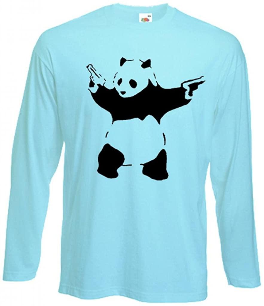 Tribal T-Shirts Men's Banksy Panda Long Sleeve T-Shirt