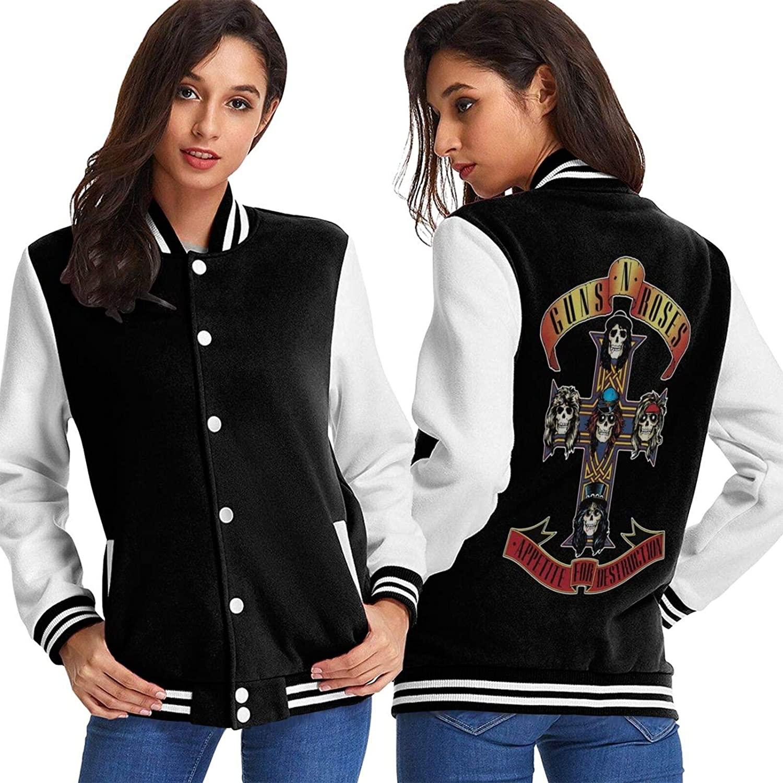 Grandlwho Guns 'N Roses Appetite Women's Fashion Baseball Uniform Jacket Sport Coat Women's Printed Baseball Uniform