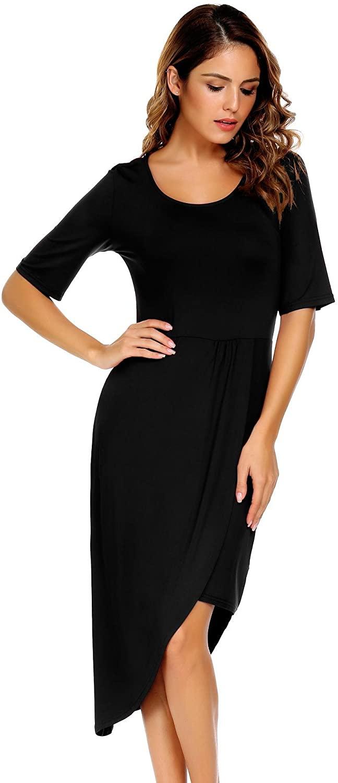 Zeagoo Women's Scoop Neck Half Sleeve Asymmetric Hem Pleated High Low Casual Midi Dress