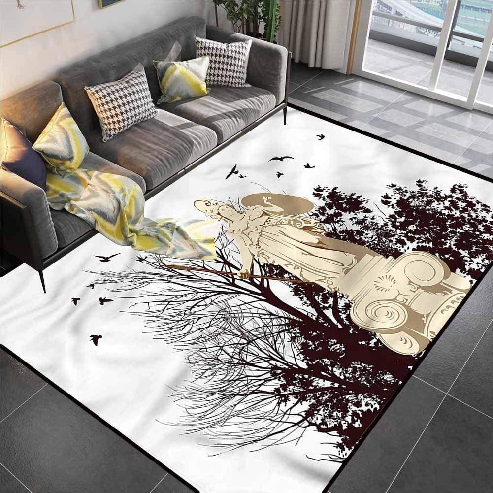 Area Rug Print Large Rug Mat Vintage,Greek Athena Statue Tree Kids Carpet for Living Dining Dorm Playing Room Bedroom 6'6