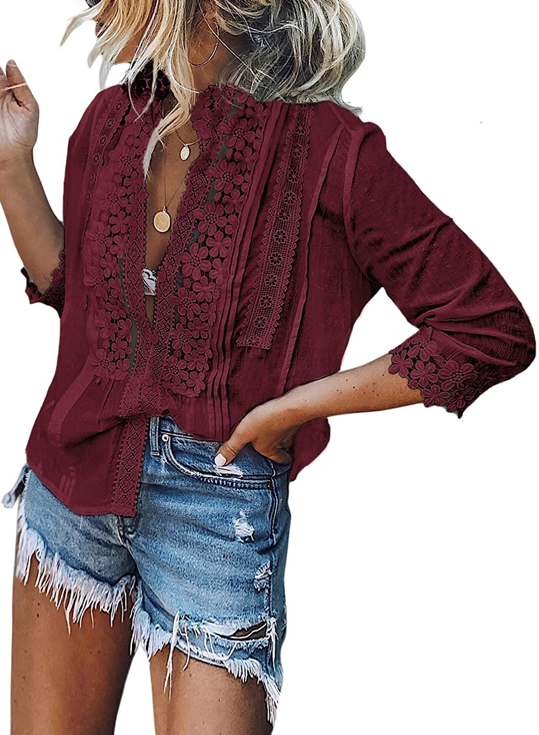 FARYSAYS Women's Lace Crochet V Neck Bell Sleeve Button Down Shirts Casual Loose Blouses Tops