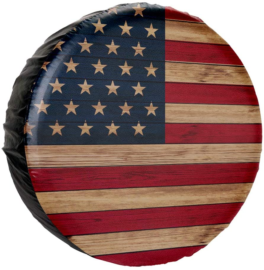 Chen American Flag Wood Spare Tire Cover PVC Leather Waterproof for Jeep Trailer RV SUV Truck Camper Travel Trailer Accessories