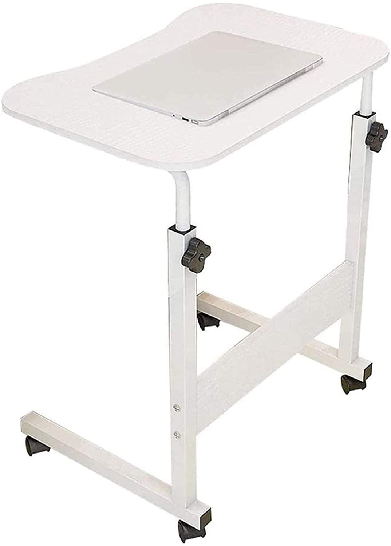 LLNN Bed Tray Table for Eating and Laptops Adjustable Desks Laptop Table, Computer Workstation, Can Move Adjustable Bedside Sofa Wooden Pallet Study The Side Table Bedside Table (Color : White)