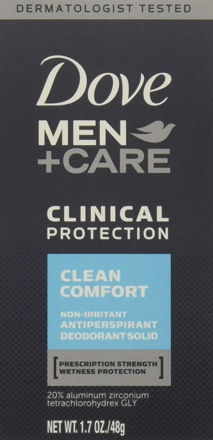 Dove Men + Care Clinical Protection Antiperspirant Deodorant Solid Clean Comfort 1.70 oz (Pack of 4)