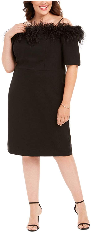 Calvin Klein Womens Black Zippered Spaghetti Strap Off Shoulder Knee Length Sheath Evening Dress Size 24W