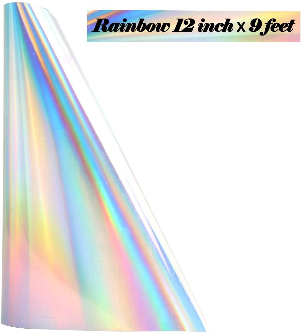 TUMIYA Rainbow Heat Transfer Vinyl 12 Inch x 9 Feet Rainbow Iron on Vinyl (Rainbow)