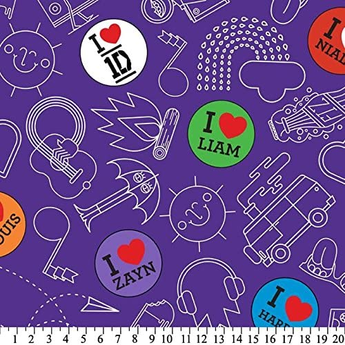 One Direction 1 Yard - I Heart Dots & Doodles on Purple Fleece Fabric - Officially Licensed (Great for Quilting, Throws, Sewing, Craft Projects, Blankets, and More) 1 Yard x 60