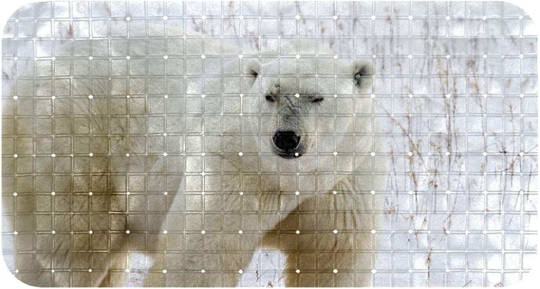 Bathroom Mat Polar Bear Bathtub Mat Anti Slip Shower Mat with Drain Holes Suction Cups for Tubs & Showers 14.7x26.9 in