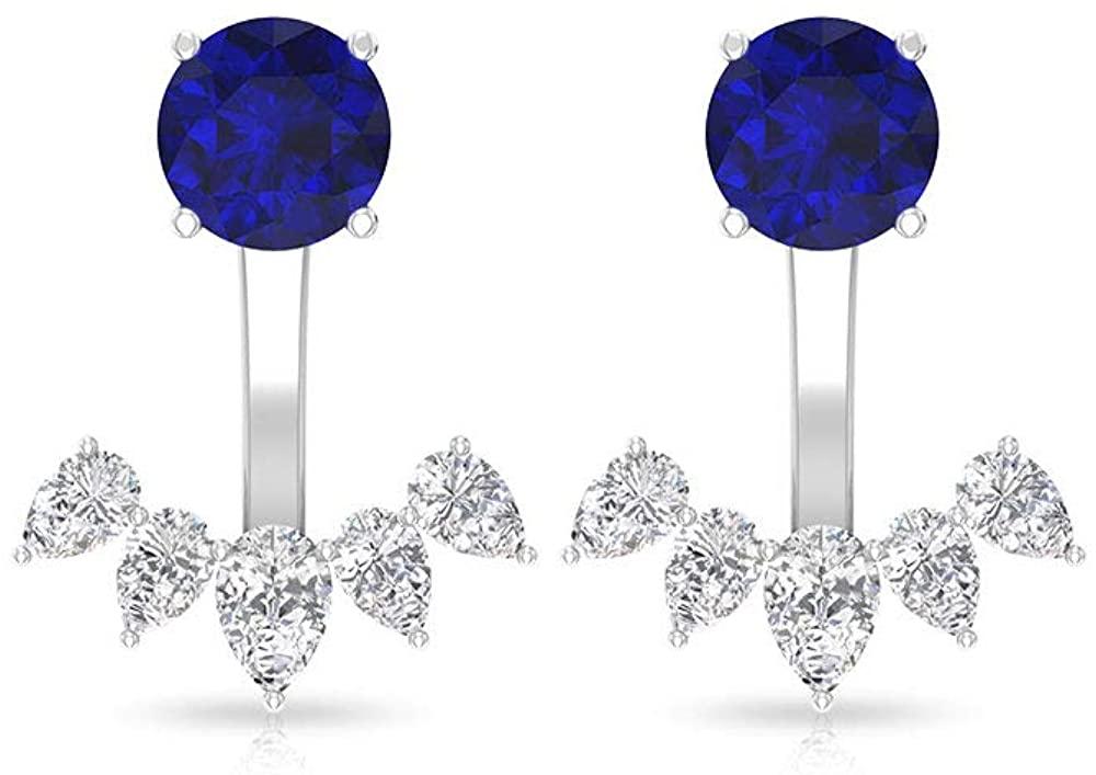 Solitaire 1.86 CT Blue Sapphire Diamond Front Back Earrings, Pear Shape HI-SI Certified Diamond Cluster Ear Jacket, September Birthstone Earring Gifts, Screw Back
