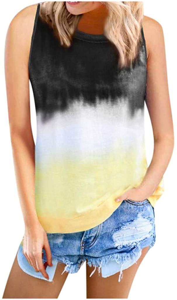 Dunacifa Womens Tie Dye Tank Tops Summer Casual Loose T-Shirts Sleeveless Gradient Colorblock Tee Tunic Blouses
