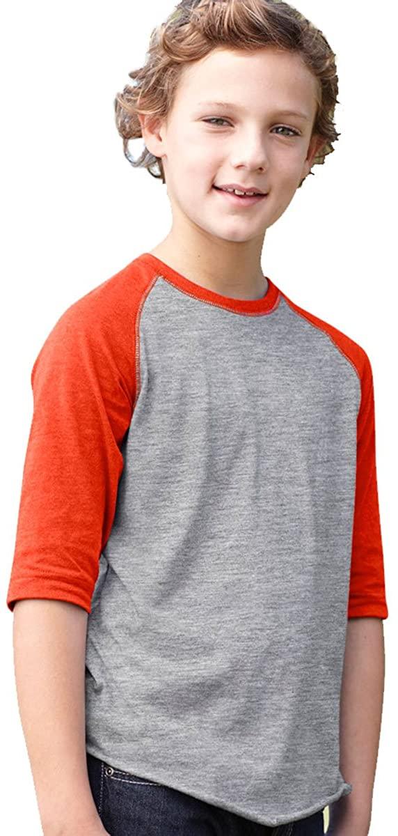 LA T Youth Vintage Baseball T-Shirt - Heather/ Orange - L
