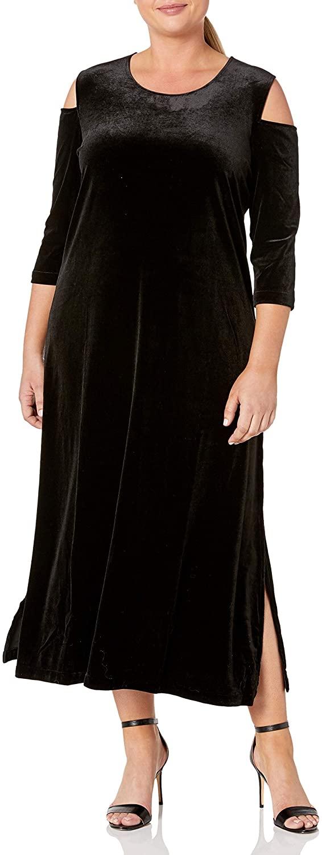 Joan Vass Womens Plus Size Maxi Velvet Dress