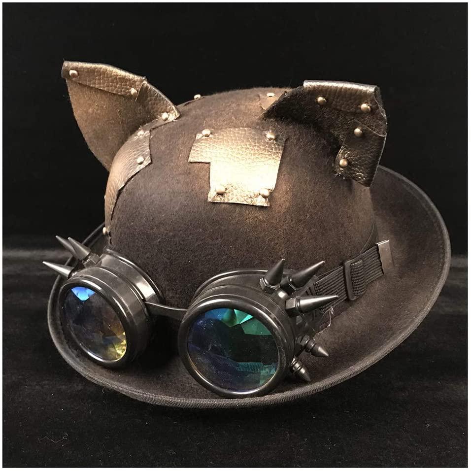 SHENLIJUAN 9 Style Retro Lolita Women Men Steampunk Bowler Hat Glasses Topper Top Hats Fedora Luxury Headwear Groom Hat (Color : Black BLG, Size : 57-58cm)