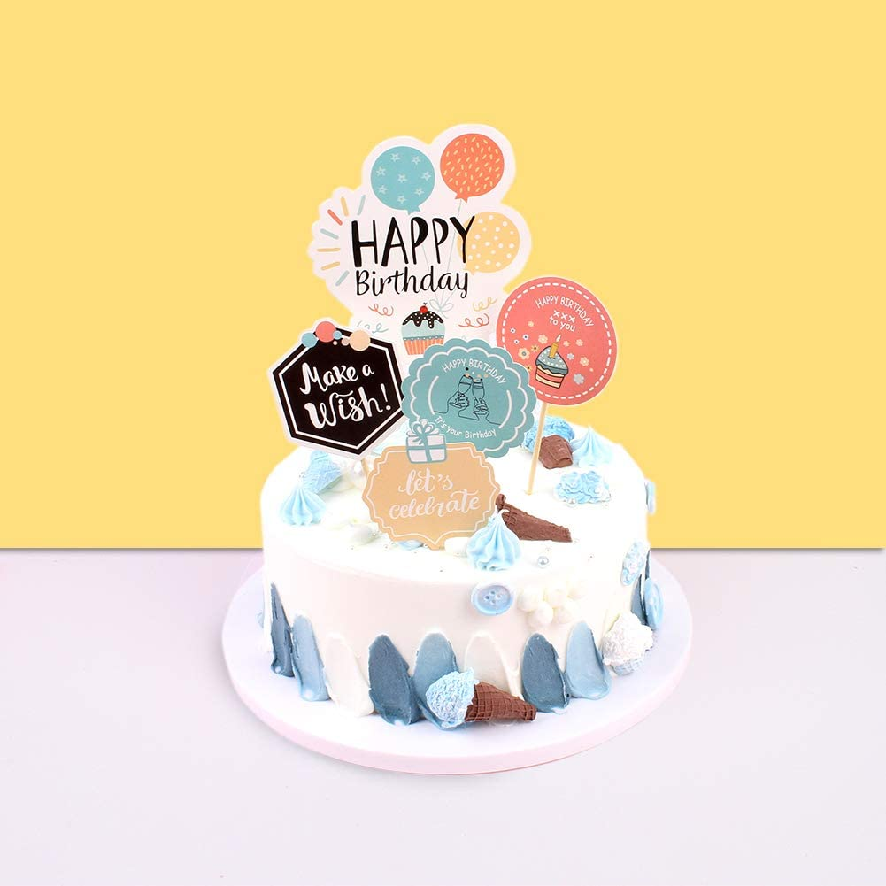 Unimall Happy Birthday Cake Toppers UV Printing Happy Birthday Cupcake Toppers Cake Picks Party Decorations Supplies - Pack of 5