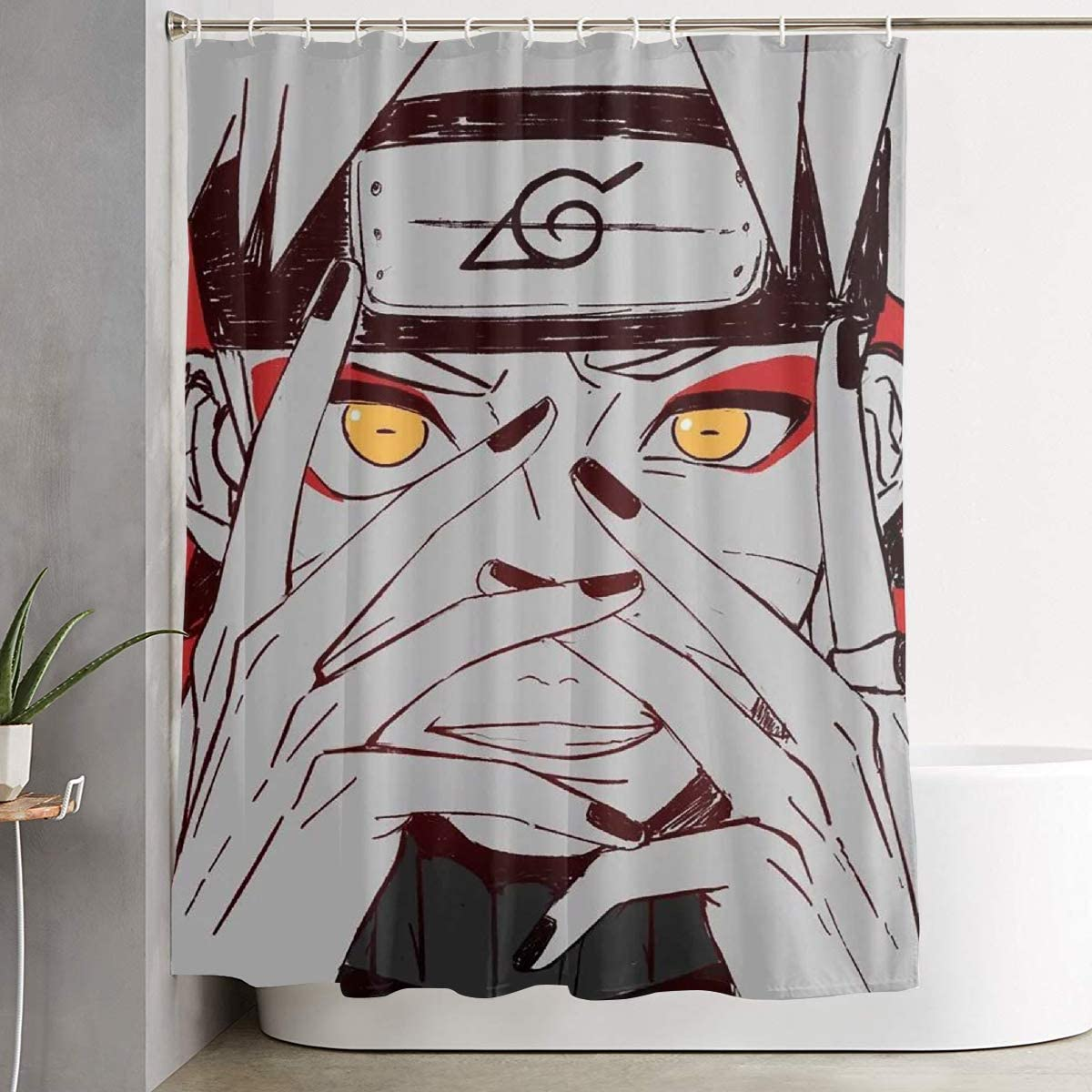 Pooizsdzzz Shower Curtain with Hook - Naruto Uzumaki Akatsuki Waterproof Polyester Fabric Bathroom Decor 60 X 72 Inches