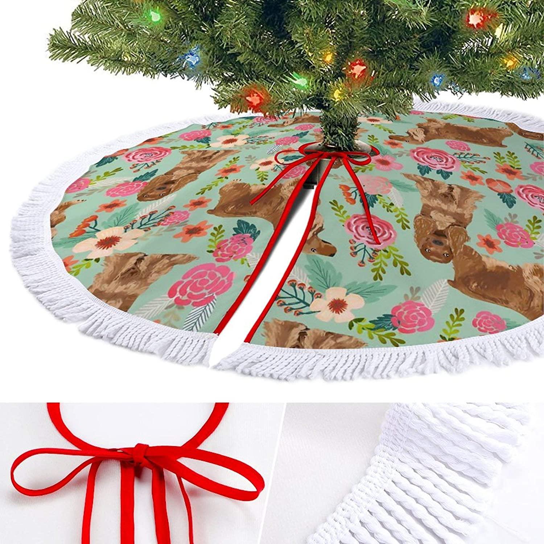 ODOKAY Christmas Tree Skirt Cocker Spaniel Florals Dog Holiday Decor Round Xmas Tree Mat for New Year