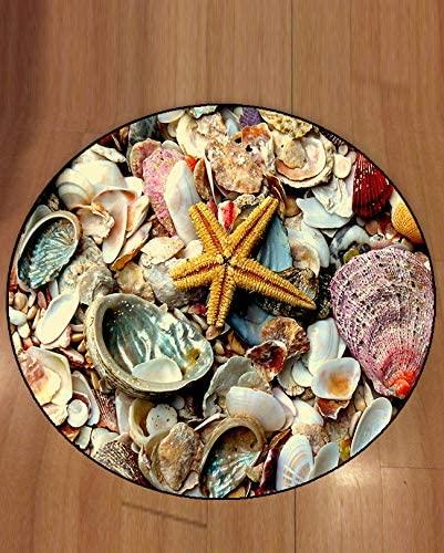 Else 3D Patterned Starfish Shells Modern Round Carpet