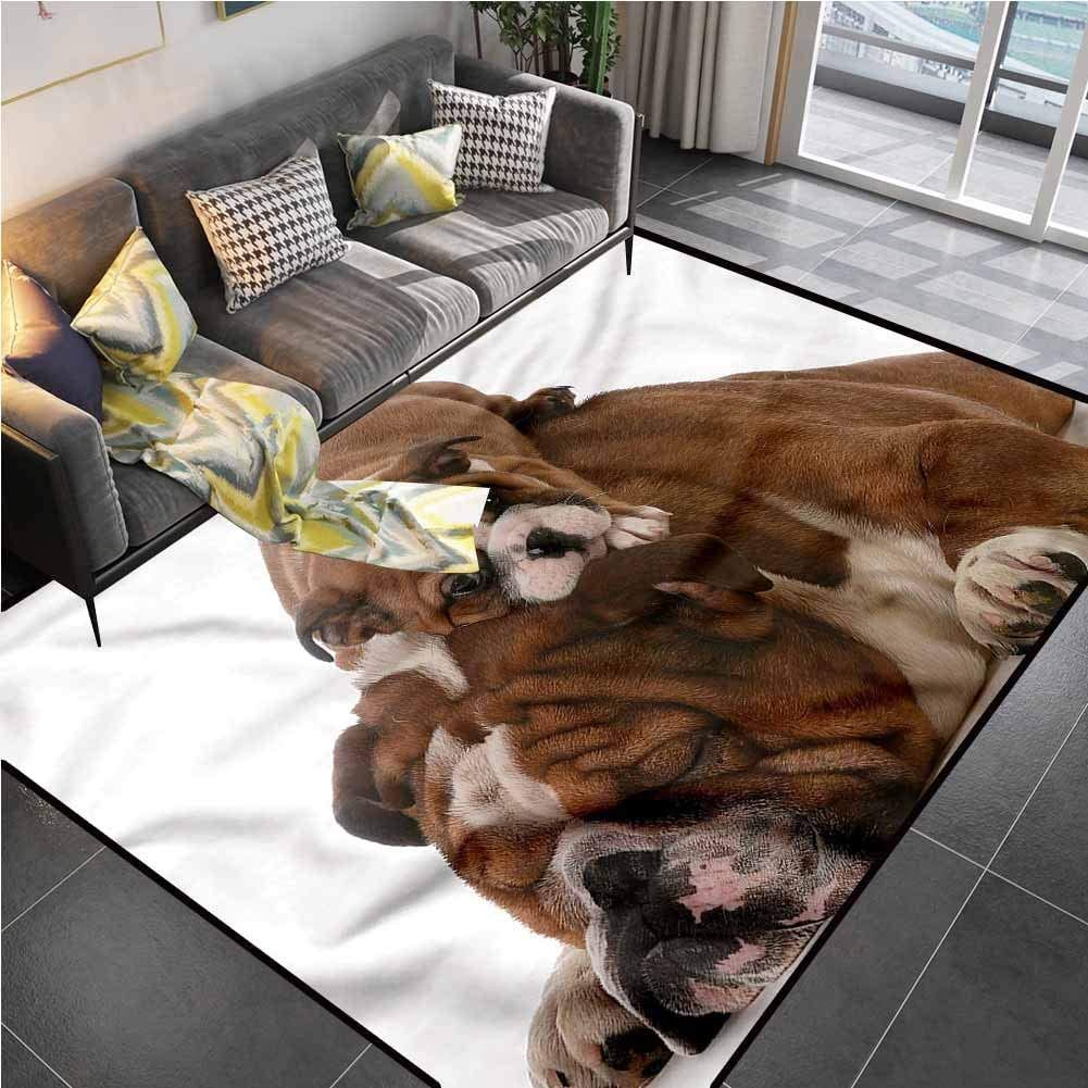 Area Rug Print Large Rug Mat English Bulldog,Father and Son Bedroom Rugs for Living Room Bedroom Playing Room 5'x7'